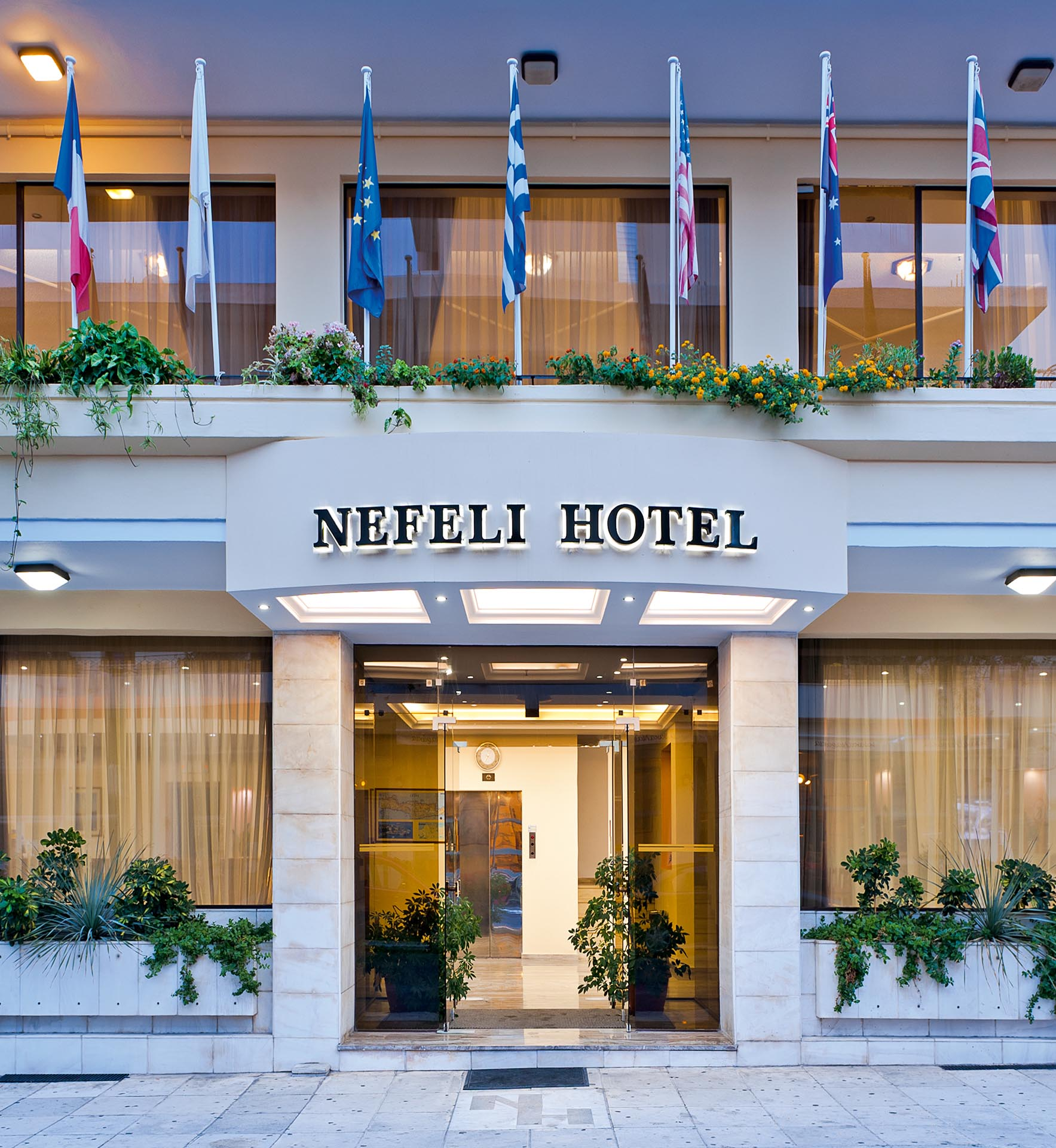 Nefeli Hotel's main entrance