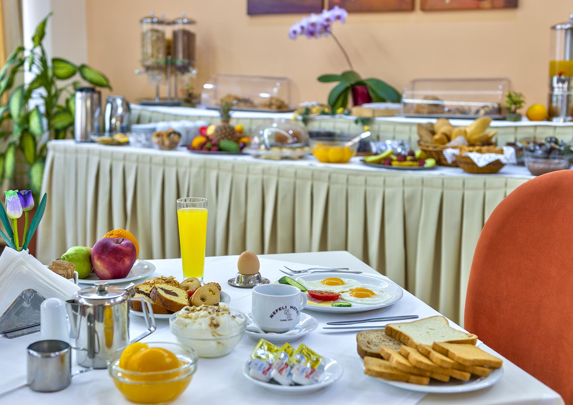 Nefeli Hotel's breakfast buffet